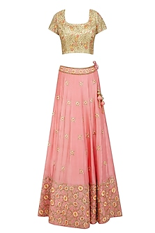 Peach Floral Thread and Bead Embroidered Lehenga Set