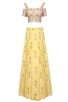 Lemon Yellow 3D Floral Applique Work Lehenga Set