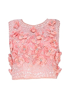 Peach 3D Floral Applique Work Crop Top and Skirt Set