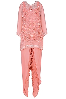 Peach 3D Floral Applique Work Short Kurta and Dhoti Pants Set