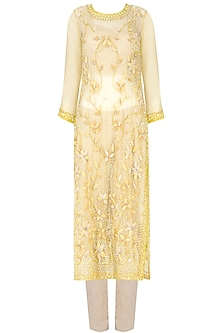 Soft Yellow 3D Floral Applique Work Straight Kurta and Beige Pants Set
