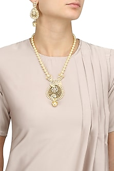 Micro Gold Plated Pearl And American Diamond Necklace Set