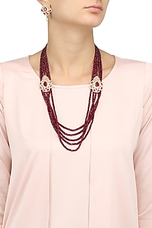 Micro Gold Plated Red Onyx And American Diamond Necklace Set