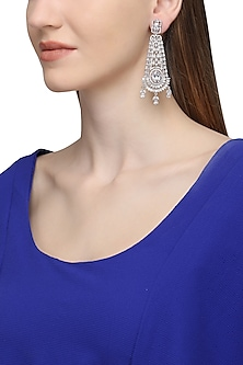 Silver Plated American Diamond Earrings by Rose Jewellery Collection