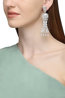 Silver Plated Long American Diamond Earrings