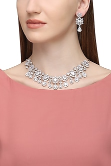 Silver Plated Zircons and White Saphire Necklace Set