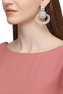 Gold Plated Zircons Flower Motif Earrings by Rose Jewellery Collection