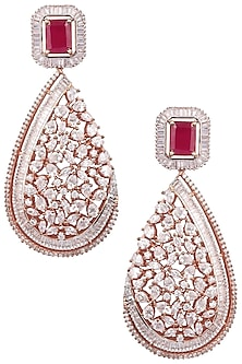 Gold Plated Zircons and Ruby Stone Earrings by Rose Jewellery Collection