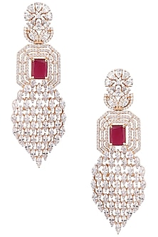 Gold Plated American Diamond and Ruby Stone Long Earrings by Rose Jewellery Collection
