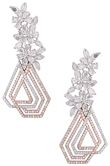 Silver Plated Geometrical Pattern American Diamond Earrings by Rose Jewellery Collection