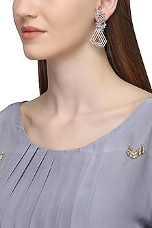 Silver Plated Geometrical Pattern American Diamond Earrings