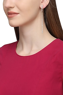 Gold Plated Single Layer Long American Diamond Earrings by Rose Jewellery Collection