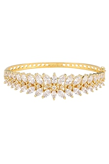 Gold Plated American Diamond and Leaf Motif Bracelet by Rose Jewellery Collection