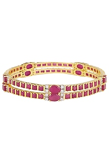 Set Of 2 Gold Plated Red Ruby Bangles by Rose Jewellery Collection