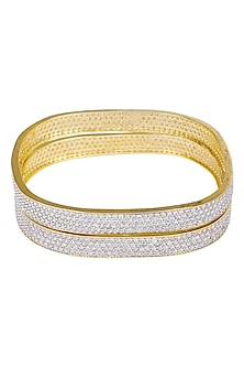 SET OF 2 GOLD PLATED SQUARE SHAPED ZIRCONS BANGLES by ROSE JEWELLERY COLLECTION