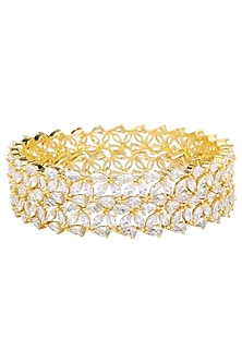Set Of 2 Gold Plated White Saphires and Leaf Motifs Bangles by Rose Jewellery Collection