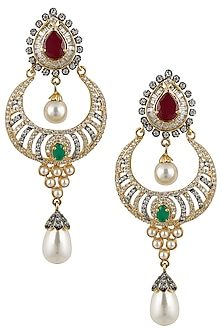 Micro Gold Finish Stone and Pearl Crescent Earrings by Rose Jewellery Collection