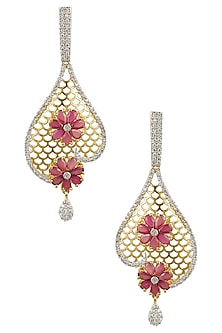Micro Gold Plated Zircons and Ruby Jaal Earrings by Rose Jewellery Collection