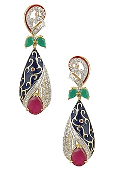 Micro Gold Plated Zircons Navy Enamel Earrings by Rose Jewellery Collection