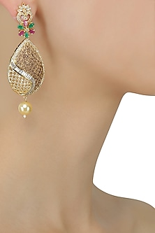 Micro Gold Plated Zircons and Emerald Stone Jaal Earrings by Rose Jewellery Collection
