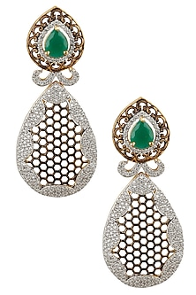 Antique Micro Gold Plated Zircons and Emerald Jaal Earrings by Rose Jewellery Collection