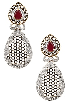 Antique Micro Gold Plated Zircons and Ruby Jaal Earrings by Rose Jewellery Collection
