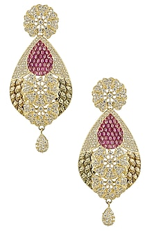 Micro Gold Plated Zircons and Ruby Earrings by Rose Jewellery Collection