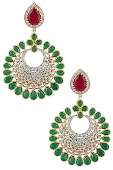Micro Gold Plated Zircons Crescent Earrings by Rose Jewellery Collection