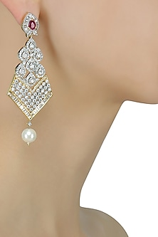 Micro Gold Plated Zircons and Pearl Long Earrings by Rose Jewellery Collection