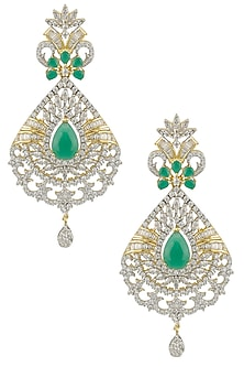 Micro Gold Plated Zircons and Emerald Long Earrings by Rose Jewellery Collection