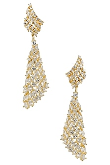 Micro Gold Plated White and Champagne Stone Earrings by Rose Jewellery Collection