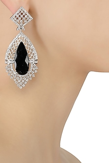 Micro Silver Plated Black and White Stone Earrings