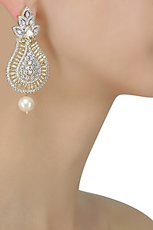 Micro Gold Plated Zircons and Pearl Earrings