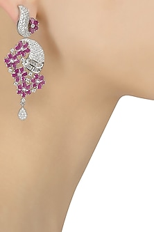 Micro Silver Plated Zircons and Ruby Stone Flower Earrings