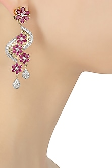 Micro Silver Plated Zircons and Ruby Stone Earrings by Rose Jewellery Collection