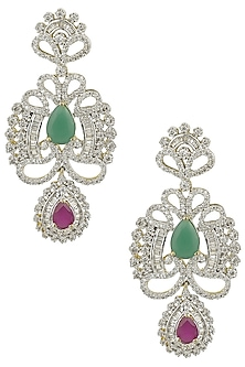 Micro Silver Plated Red and Green Semi Precious Stone Earrings by Rose Jewellery Collection
