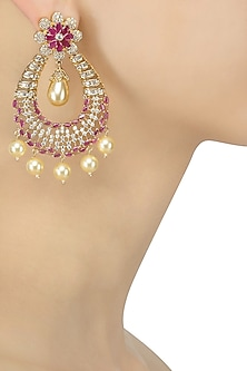 Micro Gold Plated Red and Green Stone Earrings by Rose Jewellery Collection