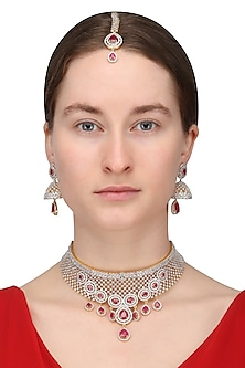 Dual Finish Zircons and Ruby Stone Necklace Set With Maang Tikka