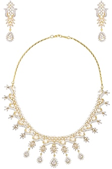 Dual Finish Zircons and White Sapphire Necklace Set by Rose Jewellery Collection