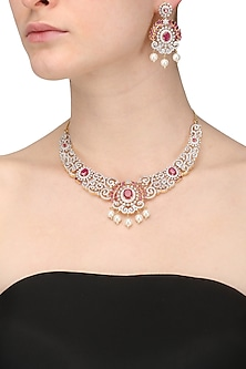 Dual Finish Zircons and Red Stone Necklace Set by Rose Jewellery Collection