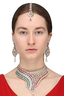 Gold Finish Red and Green Semi Precious Stone Necklace Set With Maang Tikka by Rose Jewellery Collection