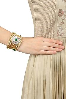 Micro Gold Plated Zircon and Emerald Stones Jaal Bracelet