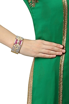 Gold Plated Micro Polish Ruby and Zircons Embellished Cuff Bracelet