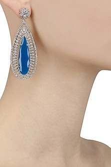 Gold Plated Micro Polish Blue Stone Tear Drop Earrings by Rose Jewellery Collection