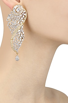 Gold Plated Micro Polish Zircons Studded Dangler Earrings by Rose Jewellery Collection