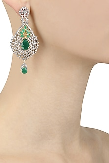 Gold Plated Micro Polish Emerald and Zircons Tear Drop Earrings
