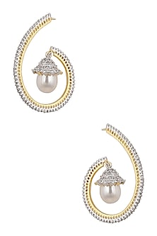 Gold Plated Micro Polish Zircons and Pearl Drop Earrings by Rose Jewellery Collection
