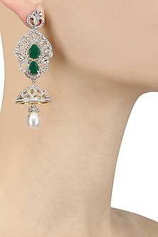 Gold Plated Micro Polish Zircons and Emerald Dangler Earrings