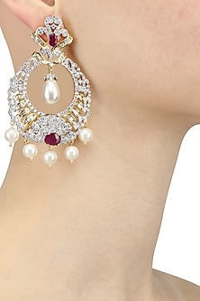 Gold Plated Micro Polish Ruby and Pearls Round Earrings by Rose Jewellery Collection
