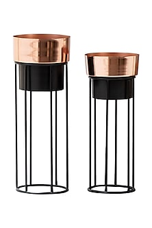 Rose Gold And Black Dual Tone Planters- Set Of 2 by The Decor Remedy